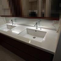 洗面台の鏡面研磨とコーティング施工(渋谷)
